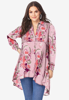 Fit-and-Flare Crinkle Tunic with High-Low Hem, BLUSH ABSTRACT FLORAL