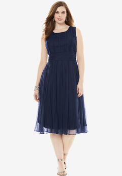 Sleeveless Mesh Dress, NAVY, hi-res