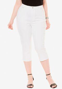 Denim Capri with Invisible Stretch® by Denim 24/7®, WHITE DENIM