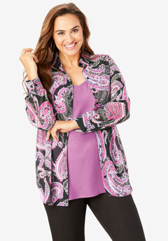 Georgette Tunic, BLACK SHADOW PAISLEY
