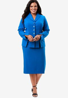 Buttoned Skirt Suit, LAPIS BLUE