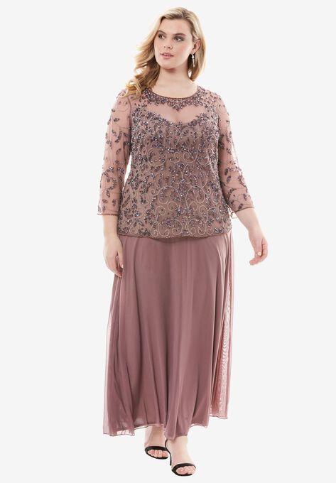 426d2bc1047 Beaded Bodice Illusion Dress by Pisarro Nights