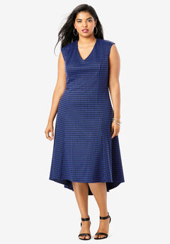 Ultimate Ponte Fit & Flare Dress, ULTRA BLUE HOUNDSTOOTH