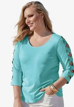 Lattice Three-Quarter Sleeve Tee,