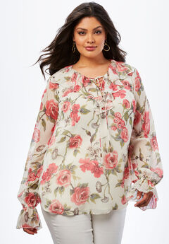 Ruffle Lace-Up Top., PINK WINTER ROSE