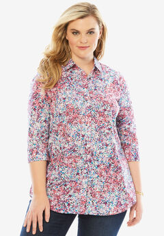 Three-Quarter Sleeve Kate Shirt, LIBERTY FLORAL, hi-res