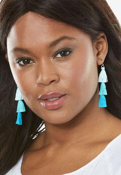 Tiered Tassel Earrings, TURQUOISE, hi-res