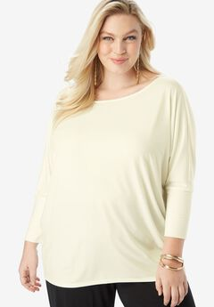 Wide Boatneck Tee with Dolman Sleeves,