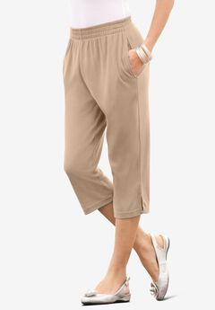Soft Knit Capri Pant, NEW KHAKI
