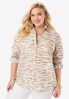 The Kate Shirt, BEIGE WHITE ZEBRA