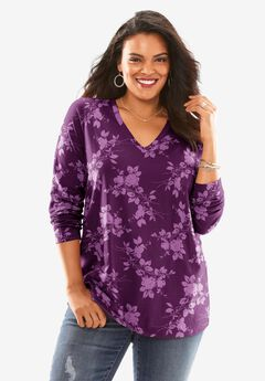 Long-Sleeve V-Neck Ultimate Tee, BERRY ORCHID FLORAL