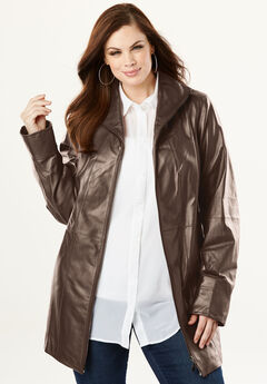Leather A-line Jacket, CHOCOLATE, hi-res