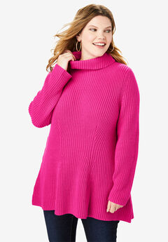 Flared Turtleneck Sweater,
