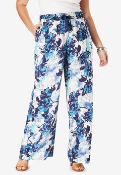 Drape Wide-Leg Pant, BLUE LEAF PRINT