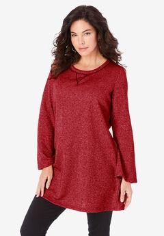 Metallic Bell-Sleeve Sweatshirt,