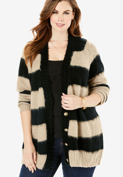 Deep V Button Cardigan, OYSTER PEARL BLACK