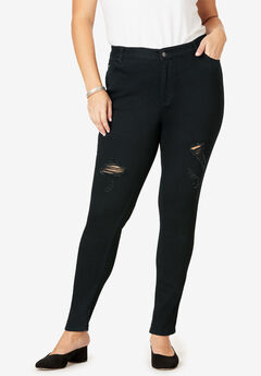 Skinny Jean By Denim 24/7®, BLACK DISTRESSED