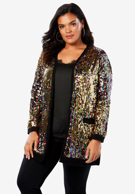 38a4bd2f8b3 Multicolor Sequin Cardigan