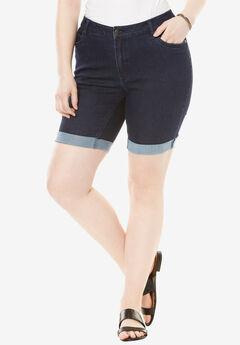 Cuff Denim Shorts with Invisible Stretch® Waistband by Denim 24/7®, INDIGO, hi-res
