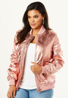 Classic Leather Bomber, ROSE GOLD