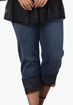 Lace Cuff Jean by Denim 24/7®, DARK WASH, hi-res