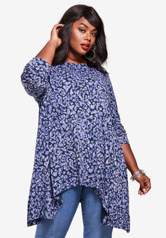 Handkerchief Hem Ultimate Tunic, NAVY ANIMAL