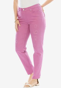 Distressed Twill Jeans by Denim 24/7, PRETTY ORCHID