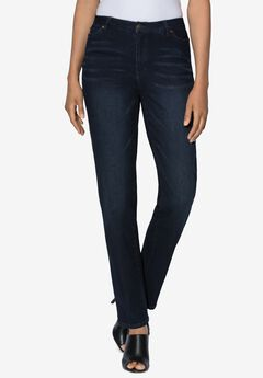 Straight-Leg Jean with Invisible Stretch® by Denim 24/7®, DARK WASH