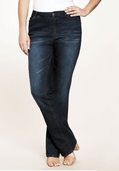 5-Pocket Bootcut Jeans with Invisible Stretch® by Denim 24/7®, INDIGO SANDED, hi-res