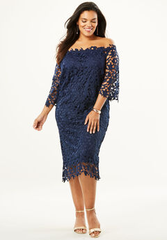 Off -The-Shoulder Lace Dress, NAVY