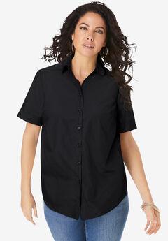 Short-Sleeve Kate Big Shirt, BLACK