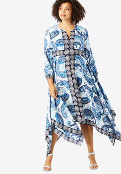 Long Handkerchief-Hem Dress,