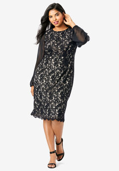 Sheer-Sleeve Lace Dress,
