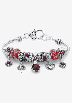 """Silver-Plated Simulated Birthstone 8"""" Charm Bracelet,"""