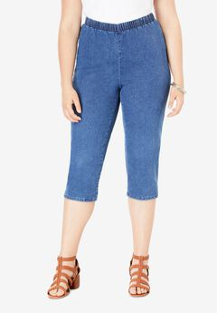 Pull-On Stretch Capri Jean by Denim 24/7®, MEDIUM STONEWASH