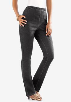 Pull-On Stretch Denim Straight-Leg Jean by Denim 24/7®, BLACK DENIM