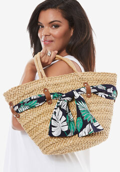Straw Tote With Scarves, TAN, hi-res