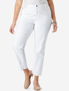 Crop Straight Jean by Denim 24/7®, WHITE