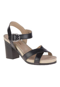 Mariska Buckle Qtr Sandals by Hush Puppies®, BLACK LEATHER, hi-res