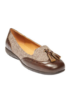 Contrast stitch sling pump, BROWN TWEED, hi-res