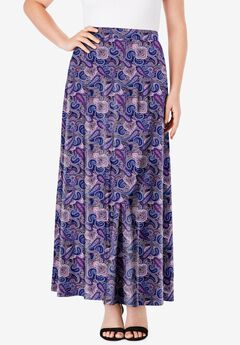 Ultrasmooth® Maxi Skirt, NAVY LAYERED PAISLEY