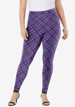 Ankle-Length Essential Stretch Legging, MIDNIGHT VIOLET BIAS PLAID