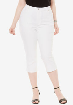 Denim Capri with Invisible Stretch®, WHITE DENIM