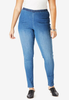 Skinny Pull-On Stretch Jegging by Denim 24/7®, MEDIUM STONEWASH SANDED
