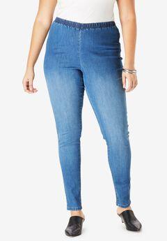 Skinny Pull-On Stretch Pant by Denim 24/7®, MEDIUM STONEWASH SANDED