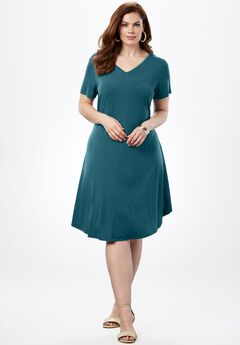 Swing Dress with Curved Hem,