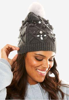 Cable Knit Pom Pom Hat, MEDIUM HEATHER GREY, hi-res