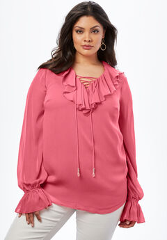 Ruffle Lace-Up Top., BEGONIA