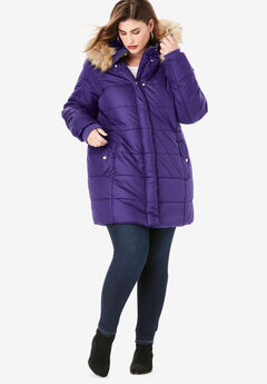 Classic-Length Quilted Parka with Hood, MIDNIGHT VIOLET