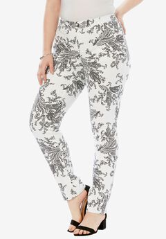Straight Leg Jean with Invisible Stretch® by Denim 24/7®, PAISLEY PRINT